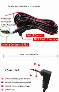 Car Rear View Reverse Dvr Camera 4 Pin Cable 2 5mm Jack