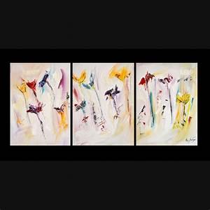 Grand Tableau Blanc : tableau triptyque fleurs multicolore sur fond blanc ~ Teatrodelosmanantiales.com Idées de Décoration