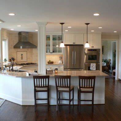 Kitchen With Both Peninsula And Island by Kitchen Peninsula Design With Column I Sooo Wanna