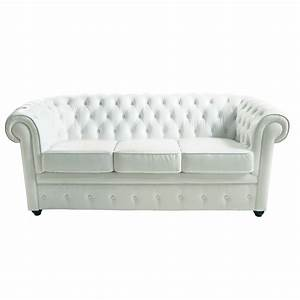 Canape capitonne 3 places en cuir blanc chesterfield for Canapé chesterfield cuir blanc 3 places