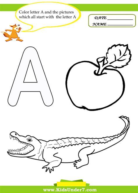color with letter a color by letter worksheets for kindergarten image