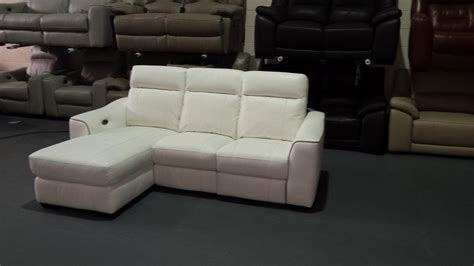 new white leather electric recliner corner