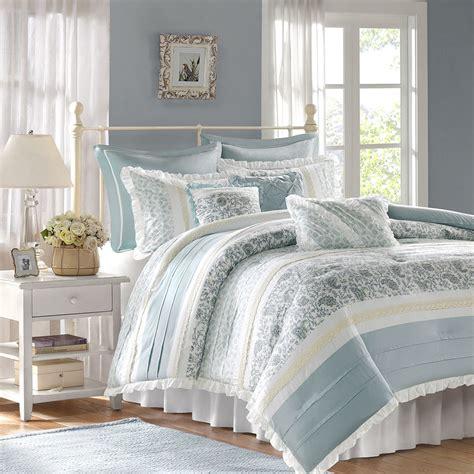 shabby chic bedding chic blue lace 9pc king comforter set cottage shabby paisley bedding ebay