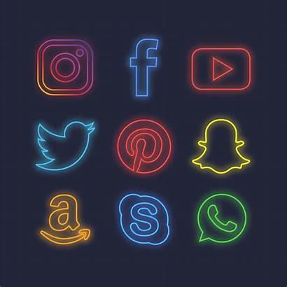 Neon Vector Social Icons Clipart Vectors Graphics