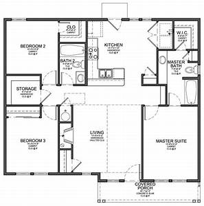 Small 3 bedroom modern house plans cottage house plans for Small three bedroom house plans