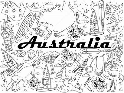 Australia Coloring Illustration Vector Animal Adults Kangaroo