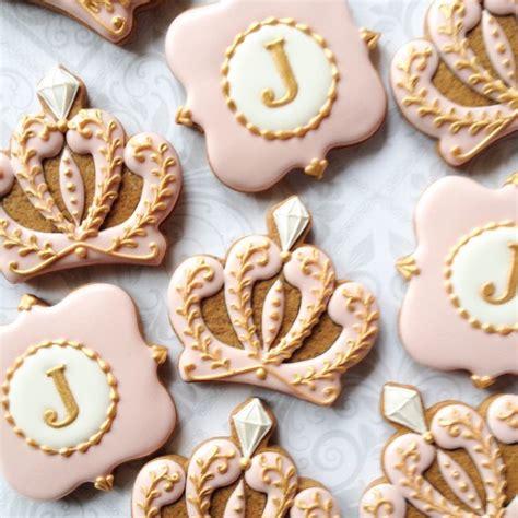 Decorated Crown Cookies by Elegant Pink Amp Gold Princess Crown And Monogram Cookies