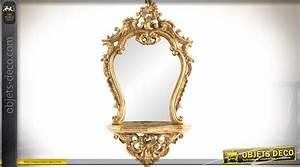 Miroir Baroque Doré : miroir mural baroque dor avec tablette console 68 cm ~ Teatrodelosmanantiales.com Idées de Décoration