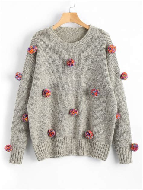 colorful sweaters 31 2019 heathered colorful pompoms sweater in gray