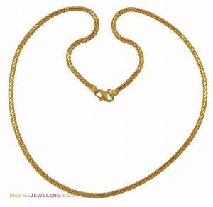 22k Flat Gold Chain (20 Inches) - ChPl11177 - 22K yellow ...