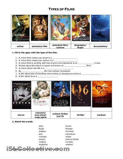 Films And Movies Worksheet  Islcollectivecom  Free Esl Worksheets  Homeschooling Pinterest