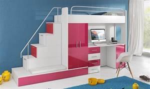 Lit Superposé Escalier : lit mezzanine avec escalier et rangements camille ~ Premium-room.com Idées de Décoration