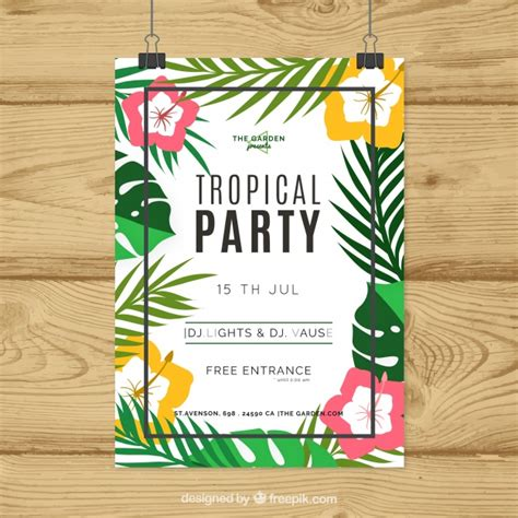 tropical poster template tropical party poster with flowers and leaves in flat