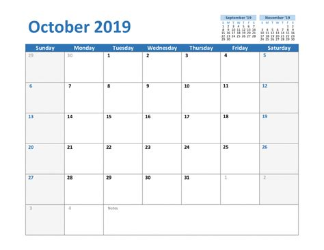 printable october calendar holidays excel word
