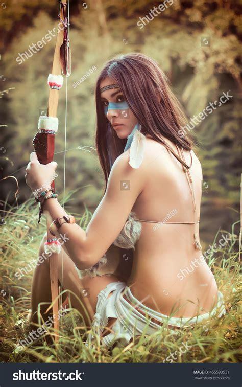 Portrait Beautiful Girl Native American Indian Stock Photo