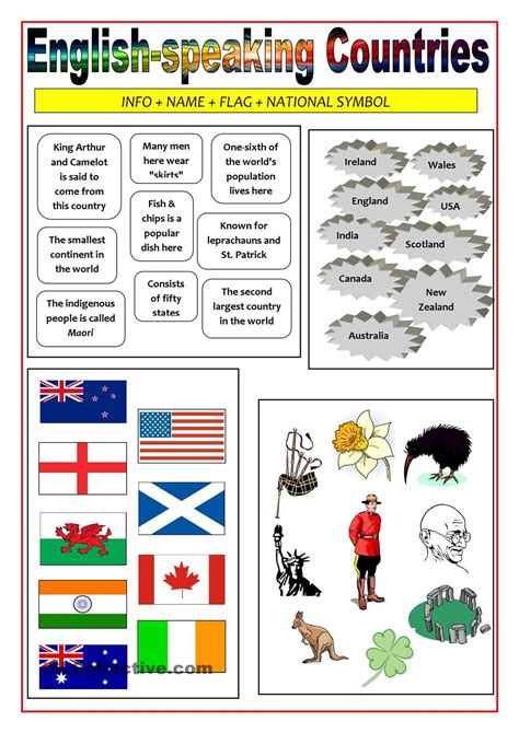 Englishspeaking Countries  Matching Activity  Material  Pinterest  Country, Printables And