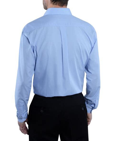 mens fresh blue long sleeve  iron cotton rich shirt