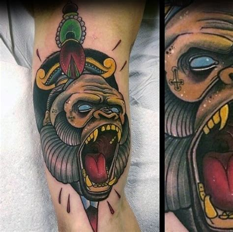 neo traditional gorilla tattoo designs  men ape