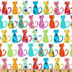 cat fabric michael miller happy calico cat white