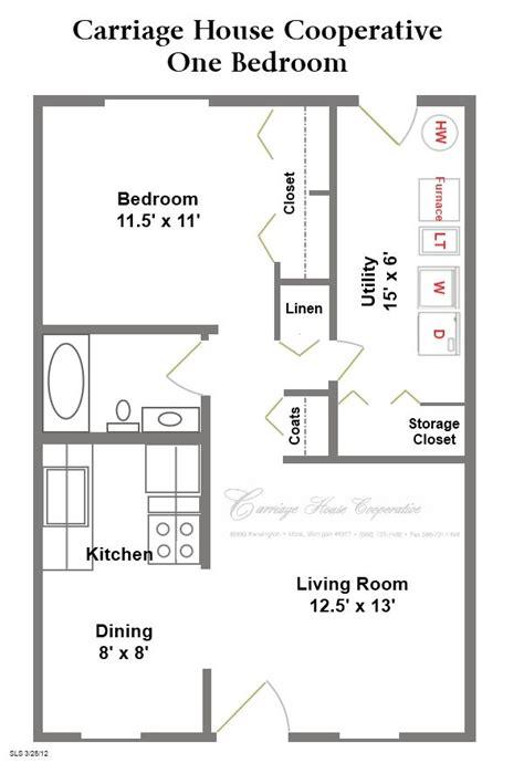 Two Level Floor Plans 1 bedroom 1 bath One Bedroom One