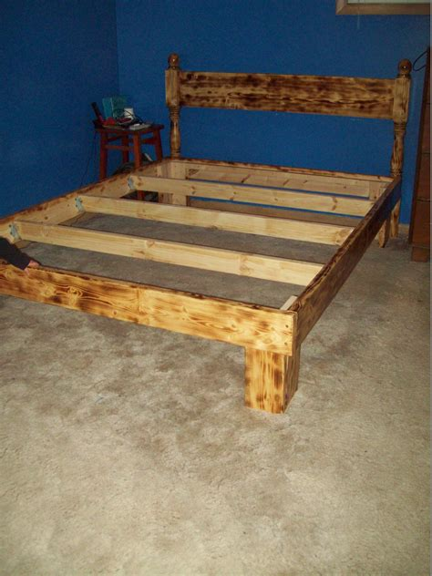 bed frame       boards burnt   torch