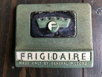 frigidaire logo sign plate crown gm general motors olive