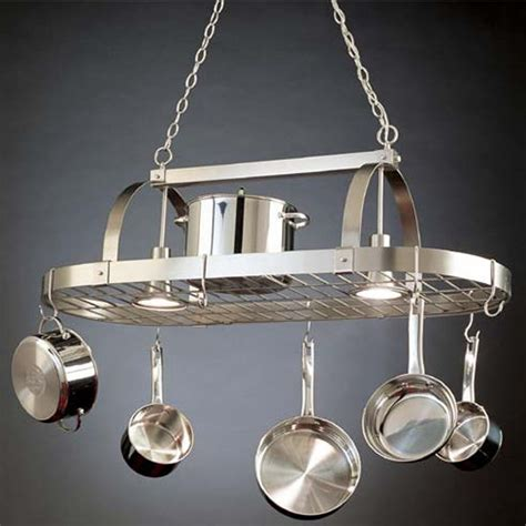 kitchen pot hanging rack with lights lighted pot racks hanging pot racks with downlights by 9530