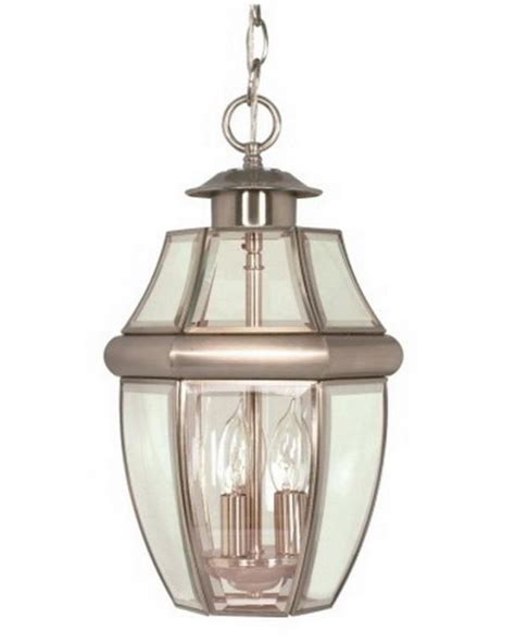 brushed nickel exterior hanging light fixture nib ebay
