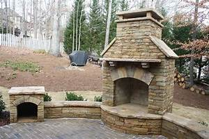Outdoor, Fireplace, With, Seating, Wall, And, Wood, Box