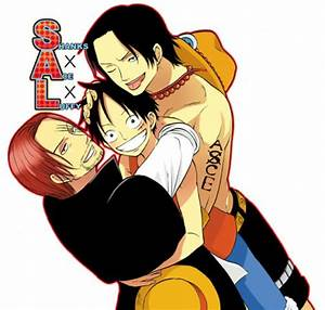 Luffy, Shanks and Ace by Hisagi-Chan on DeviantArt
