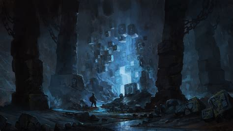 science fiction fantasy art blue cave wallpapers hd