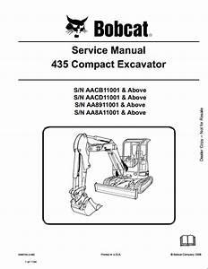 Bobcat 435 Compact Excavator Service Repair Workshop