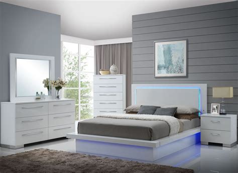 4743 light up bedroom set sapphire high gloss white laminate platform bedroom set