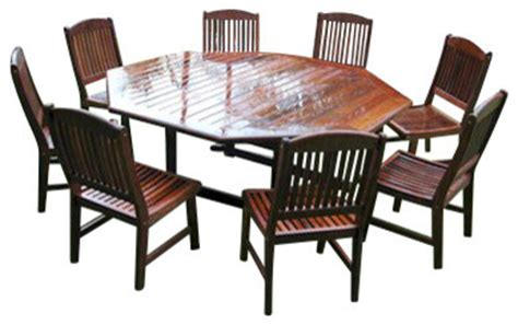 nine octagonal table outdoor dining set by teak