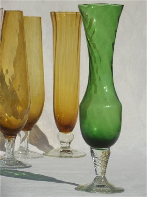 Antique Coloured Glass Vases by Mod Vintage Colored Glass Bud Vases Lot Blown Optic