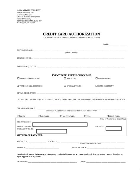 Utility bills, various subscriptions, automobile payments, etc.) to automatically deduct payment from an individual's bank account or credit card account. Credit Card Authorization Form Pdf   Template Business