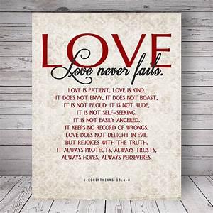 Bible Verse Love Quote 1 Corinthians 13:4-8 Vintage Damask