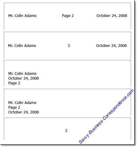 multiple page business letter   format  header