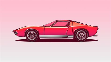 Lamborghini Miura Vector Illustration 5k, Hd Artist, 4k Wallpapers, Images, Backgrounds, Photos