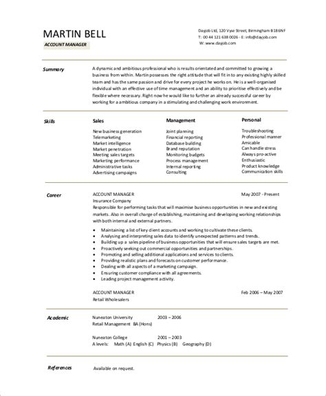sales account manager resume templates sle accountant resume 10 exles in word pdf