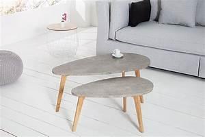Couchtisch 2er Set : 2er set couchtisch scandinavia cement echt eiche beton optik riess ~ Whattoseeinmadrid.com Haus und Dekorationen