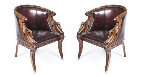 Vintage Pair Empire Mahogany Leather Tub Armchairs