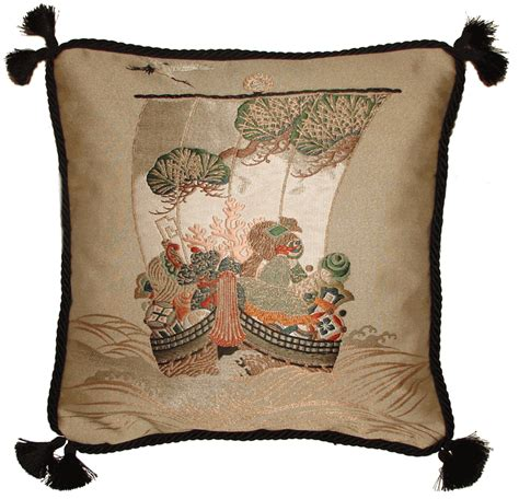 antique asian decor fukusa decorative pillow treasure ship  japan