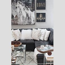 Rustic Glam Living Room + New Rug  Grey, White Pillows