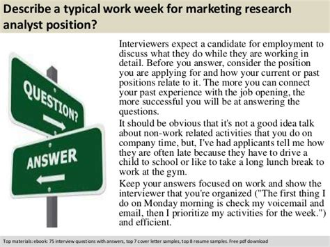 Marketing Analyst Questions by Marketing Research