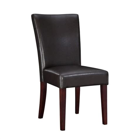 powell furniture brown bonded leather parsons dining chair