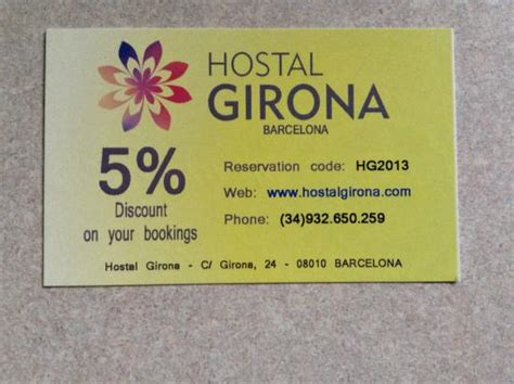 business carddiscount code  picture  hostal girona