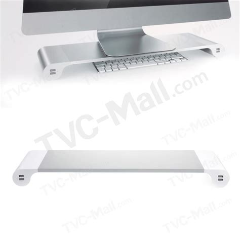 monitor stand space bar desk organizer with 4 usb ports