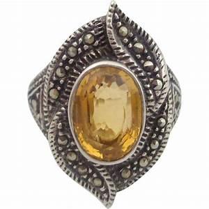Estate Vintage Sterling Silver Marcasite & Citrine Ring Sz ...