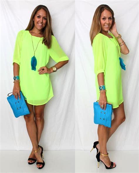 Best 25+ Neon dresses ideas on Pinterest | Vestido mini casual Camel summer dresses and Yellow ...